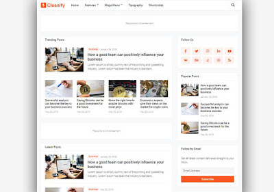 Cleanify Blogger Template Responsive Seo Optimized
