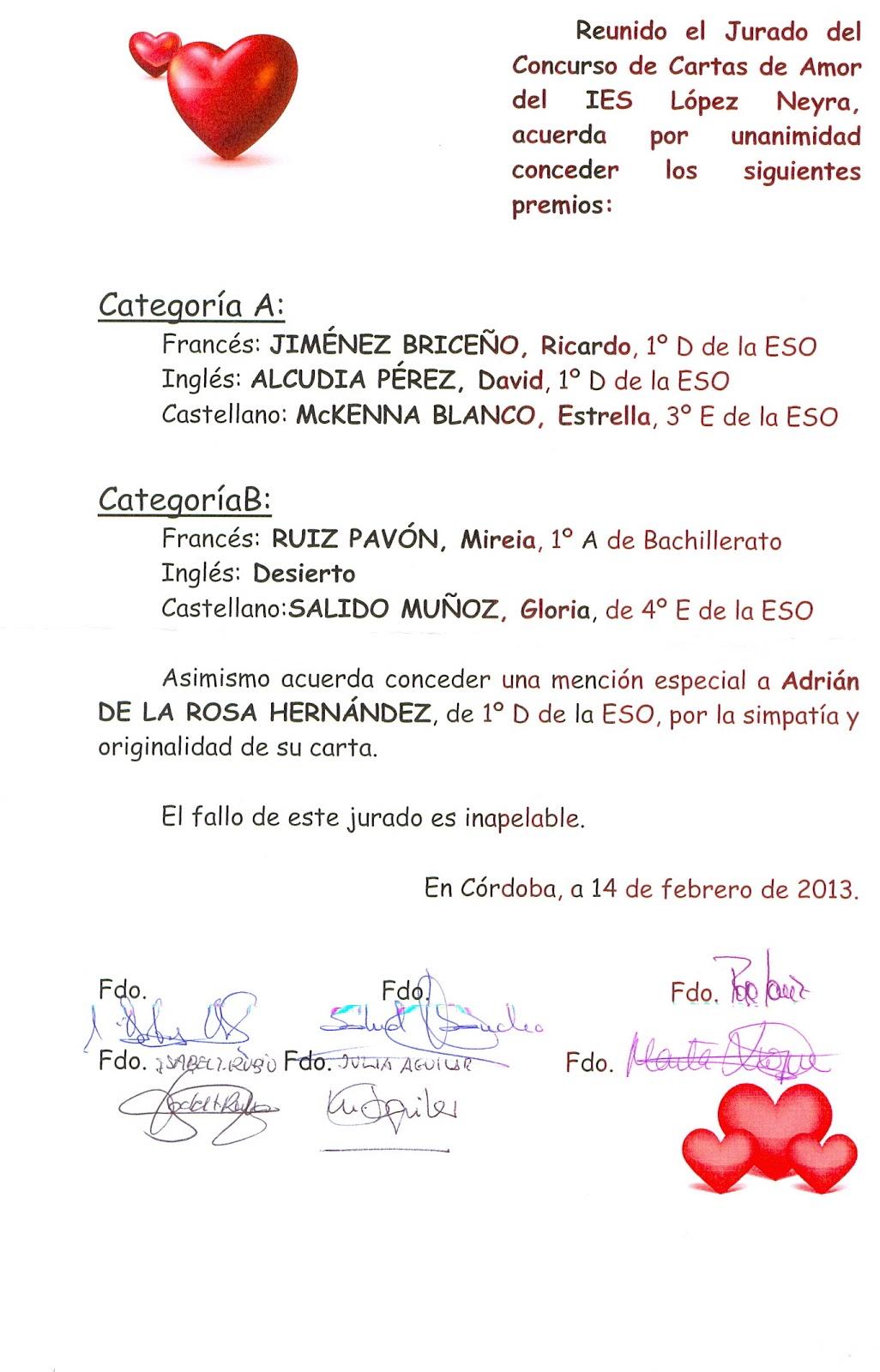 Biblioneyra entrega de premios del concurso de cartas de amor - Cartas de san valentin en ingles ...