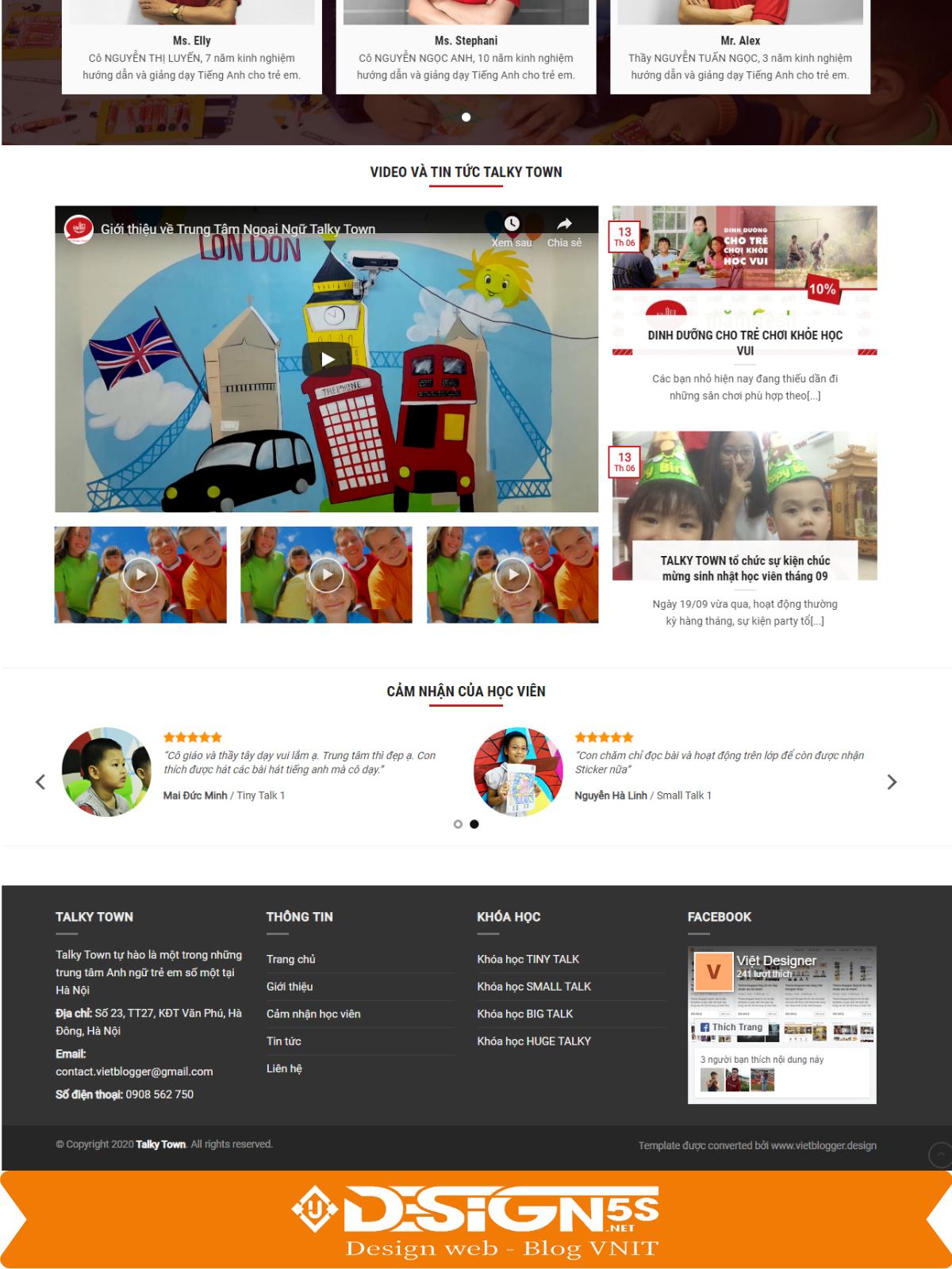 Template blogspot landing page trung tâm tiếng Anh - Ảnh 2