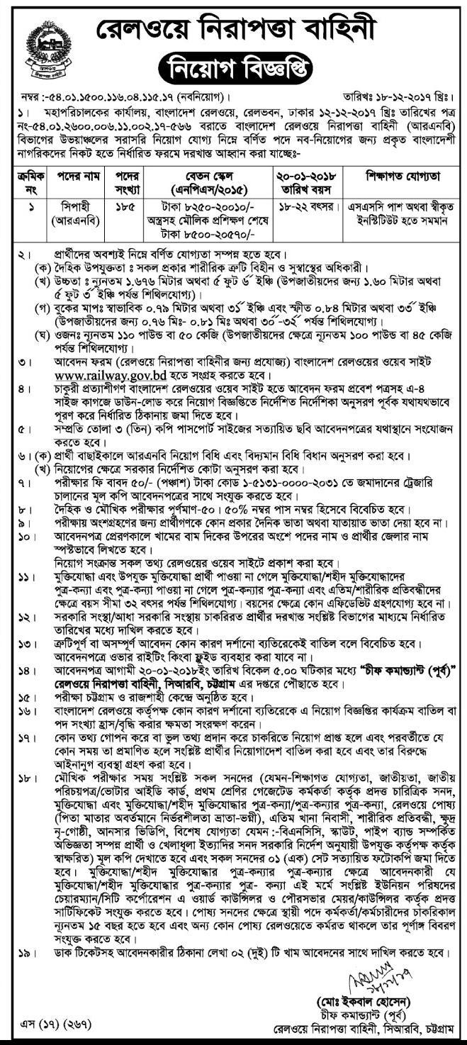 Bangladesh Railway Sepoy (সিপাহী) Job Circular 2017