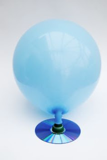 A balloon hovercraft made with the help of a CD, bottle cap and balloon