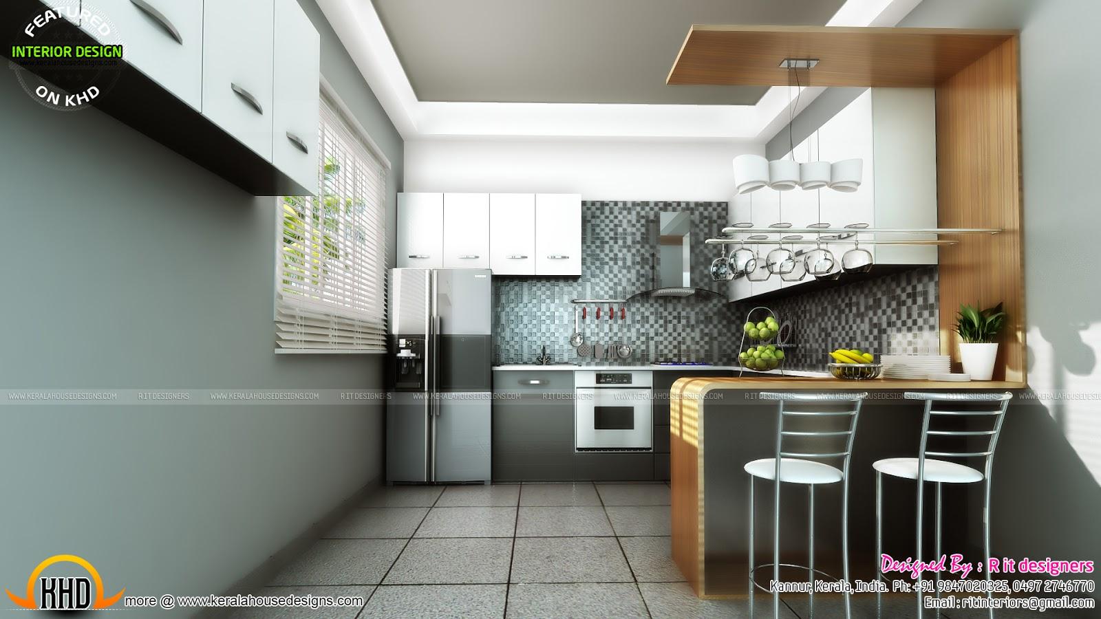 Study room, modern kitchen, living interior - Kerala home ...