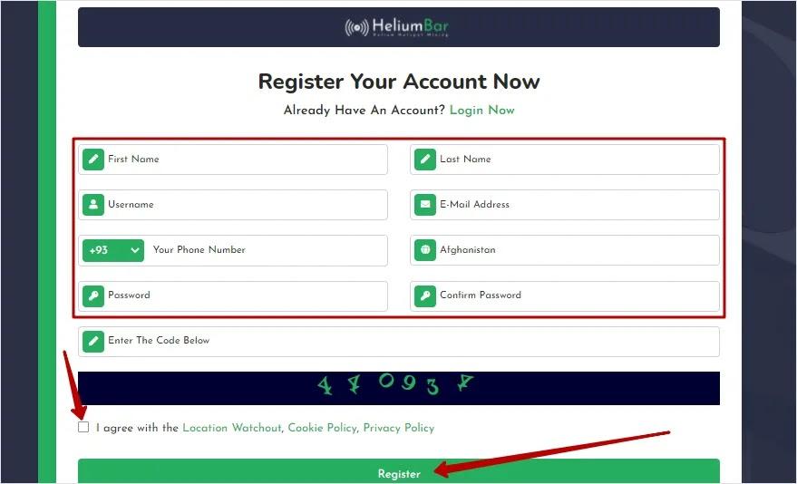 Регистрация в Helium 2