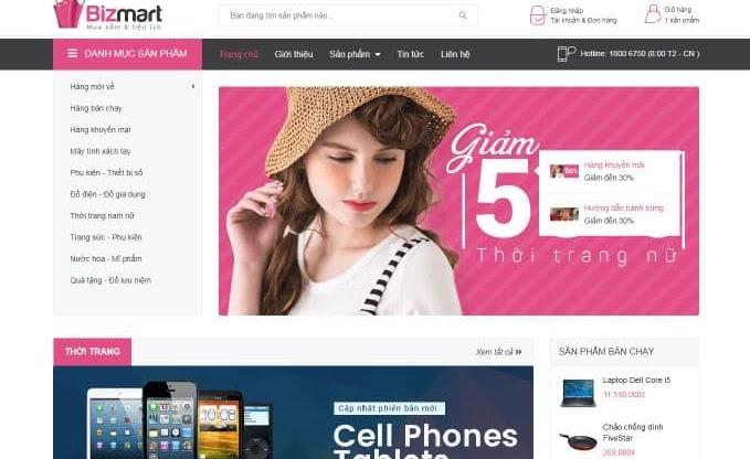 Giao diện blog bán hàng siêu thị