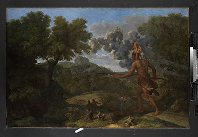 "The painting ""Blind Orion Searching for the Rising Sun"" is an oil painting on canvas by French artist Nicolas Poussin"