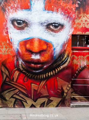 London based street artist Dale Grimshaw paints a mural on Hanbury Street, London. #streetart #Murals #Hookedblog