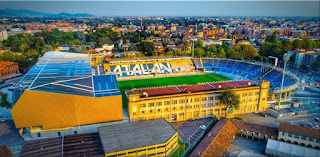 Atalanta play their home matches at the expanded Gewiss Stadium in the Città Bassa