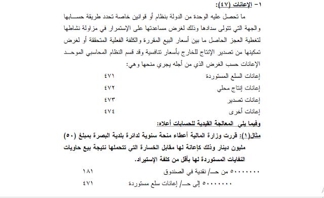 حساب الاعانات 47 النظام المحاسبي الموحد