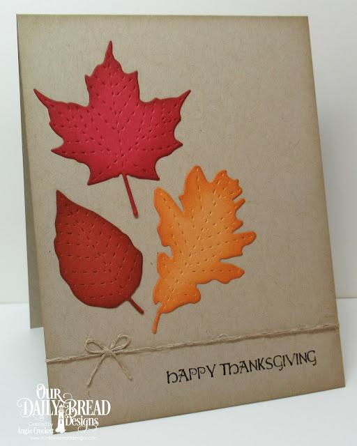 ODBD Thankful Song, ODBD Custom Stitched Leaves Dies, Card Designer Angie Crockett