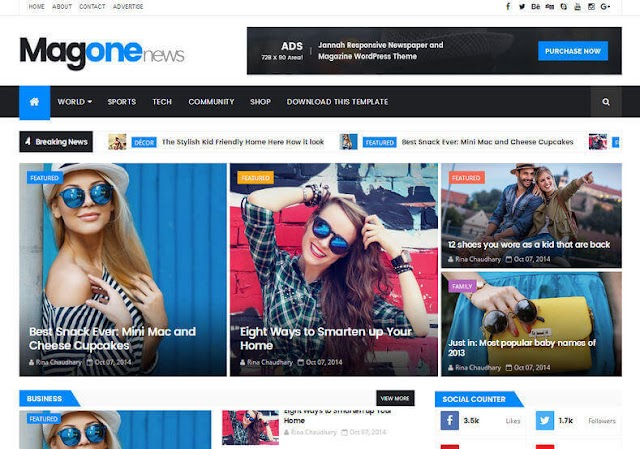MagOne News Responsive Blogger Template Premium Template Free Download