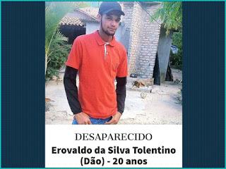 Família pede ajuda para encontrar Erovaldo da Silva desaparecido em Ibitiara