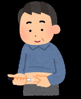 インスリン注射のイラスト(中年男性)