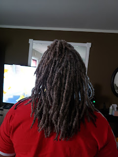 photo of gray shoulder length locs from the back