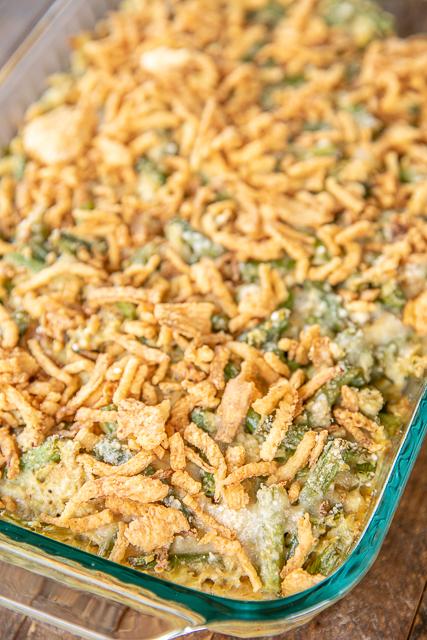 green bean casserole in baking dish