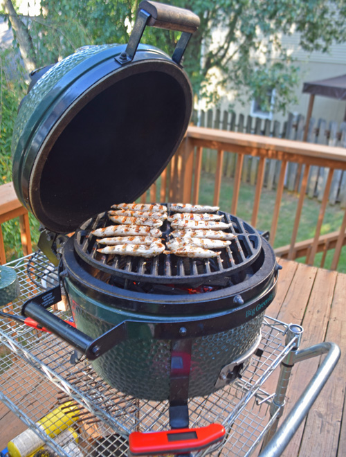Grilling chicken for pitas on the Big Green Egg Mini-Max.
