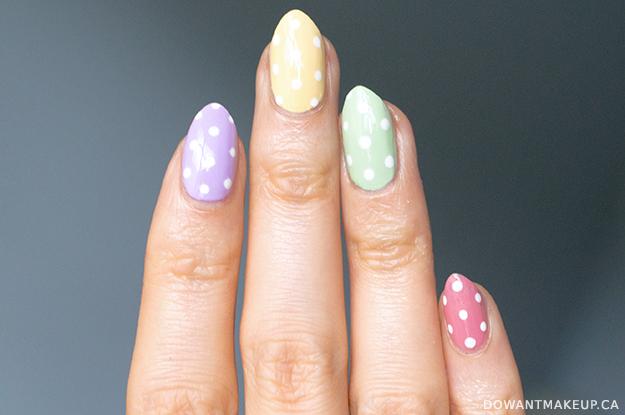 Pastel polka dot easter nails