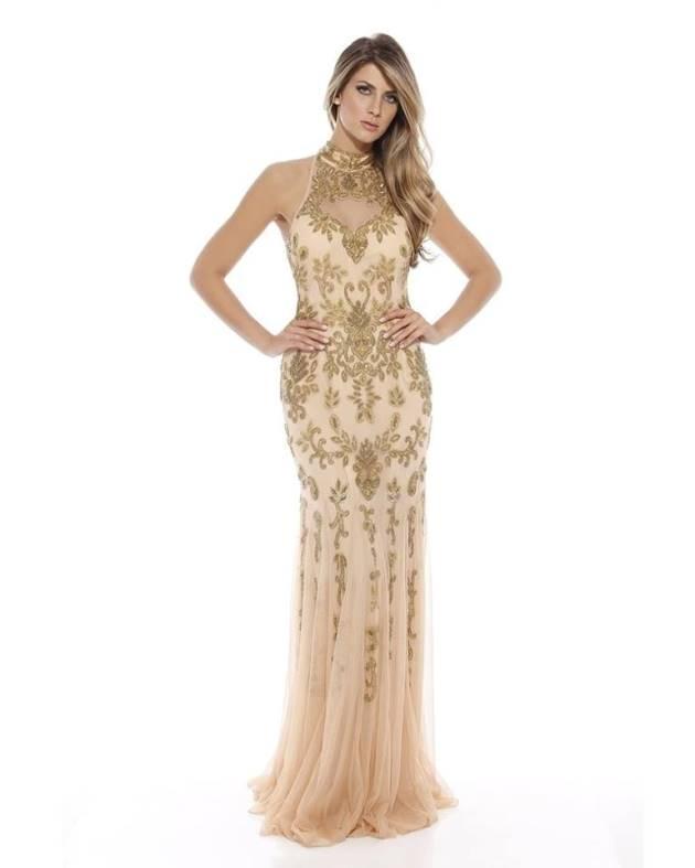 vestido de festa nude e dourado