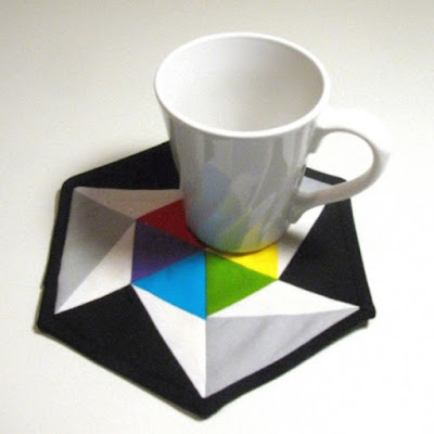 hexagon color wheel mug rug one