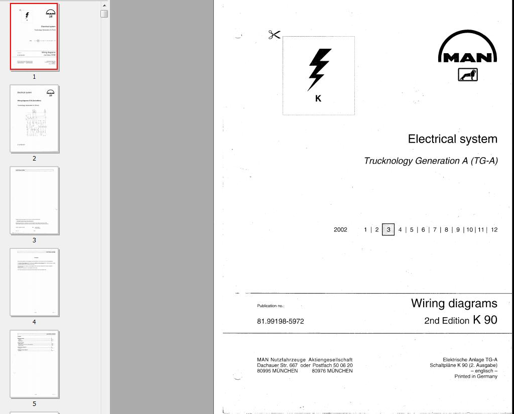 ELECTRICAL WIRING DIAGRAMS FOR MAN TGA  Automotive Library