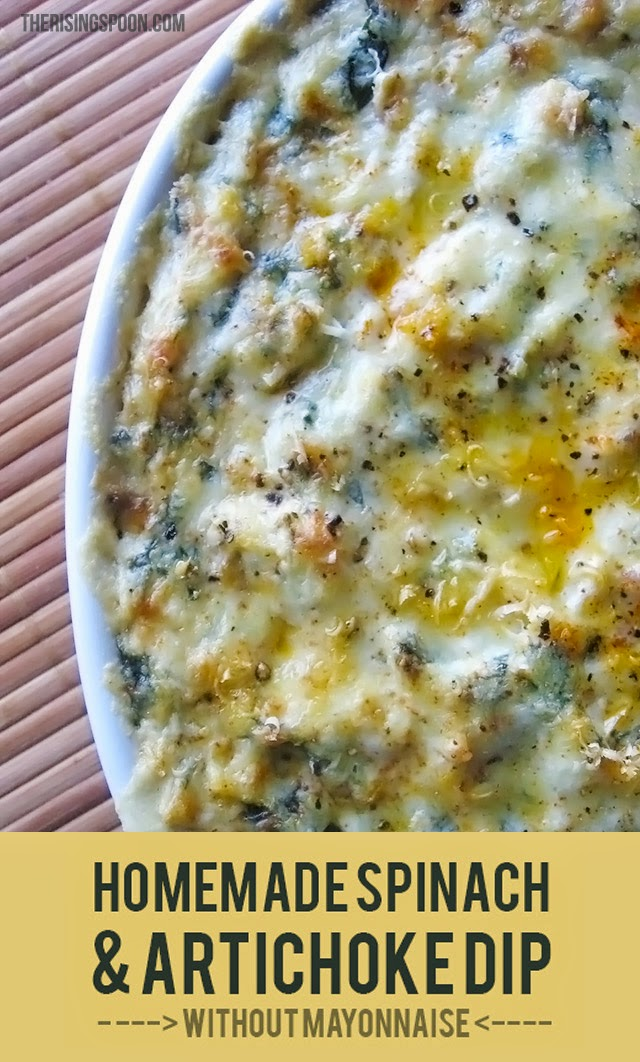 Homemade Spinach and Artichoke Dip Without Mayo | www,therisingspoon.com