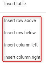 how to insert table row or column