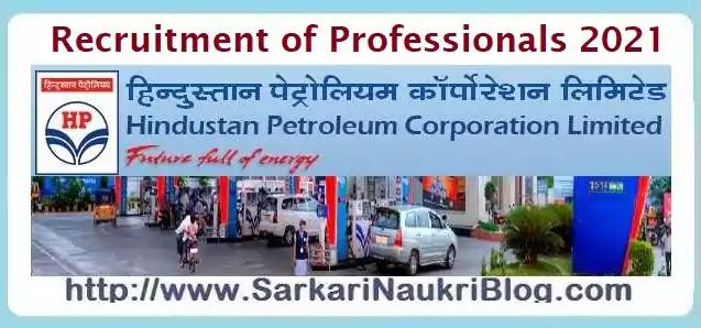 HPCL Recruitment of Professionals 2021