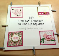 "Sampler Tip: Use a 1/2"" Template to help line up the squares perfectly on the 8"" x 8"" base www.juliedavison.com"