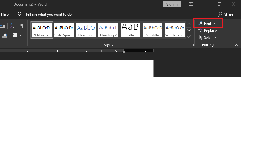 """Find is located at the right upper corner of the workspace in """"Editing Ribbon"""""""