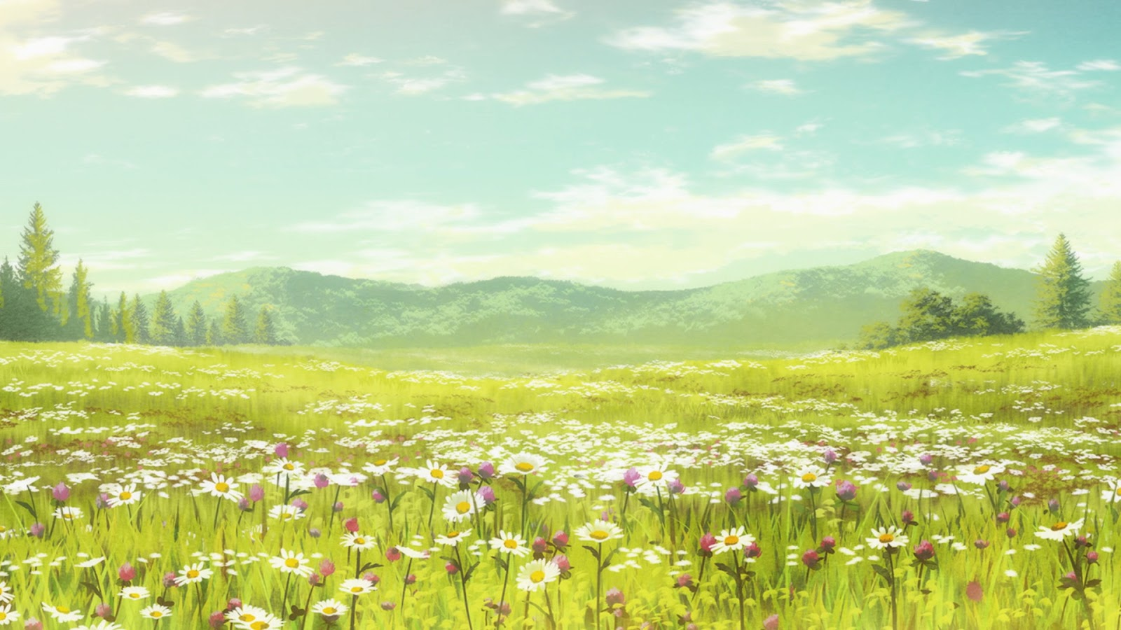 Hd wallpapers and background images Anime Landscape: Cute Anime Flower Field Background