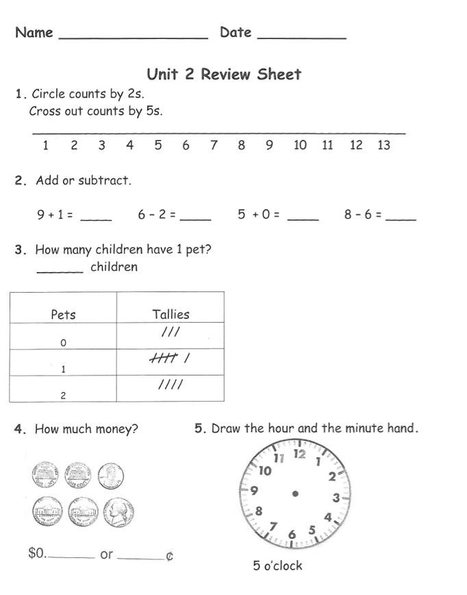 1st Grade F.L.A.G.: Math Practice Test