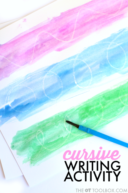 Try this watercolor resist activity to practice cursive handwriting including letter formation, cursive writing lines, and pre-cursive lines.