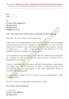 sample warning letter to employee for not following procedures