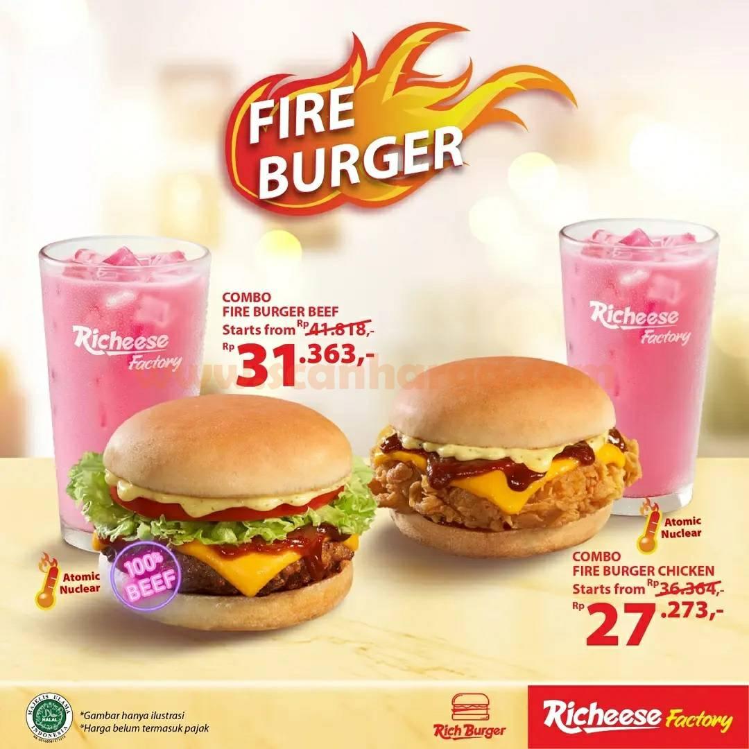 Richeese Factory Promo Fire Burger mulai Rp. 31.363