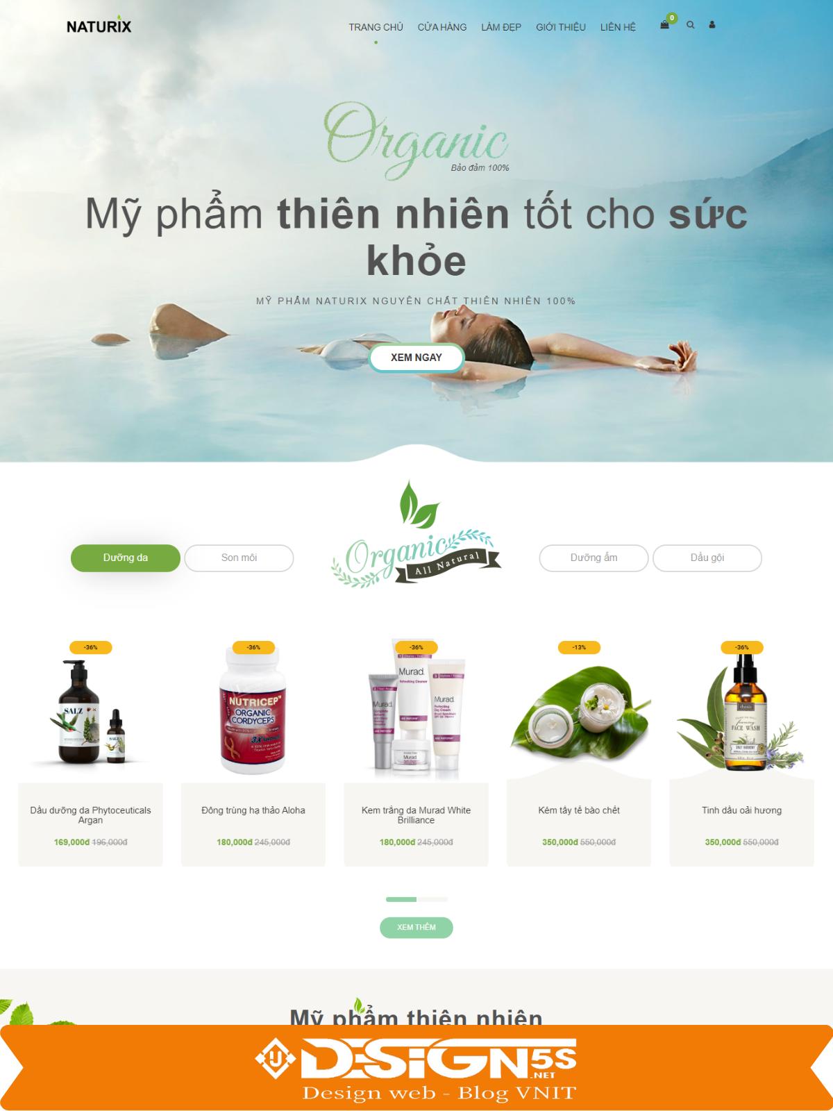 Mẫu Website  Bán Mỹ Phẩm Naturix Chuẩn SEO - Ảnh 2