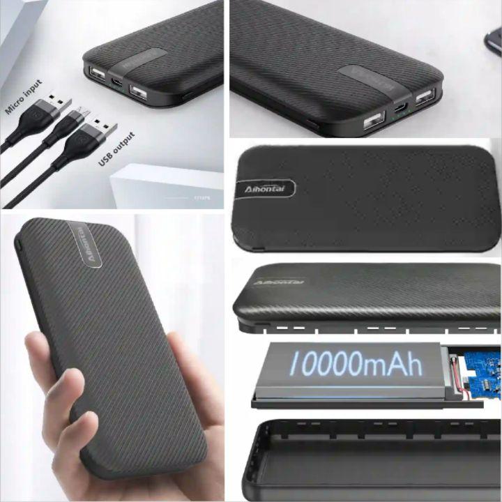 Aihontai Powerbank: 10000mAh Dual USB Mobile Battery Phone Charger - AT10PB Fast Charging Mini Power Bank