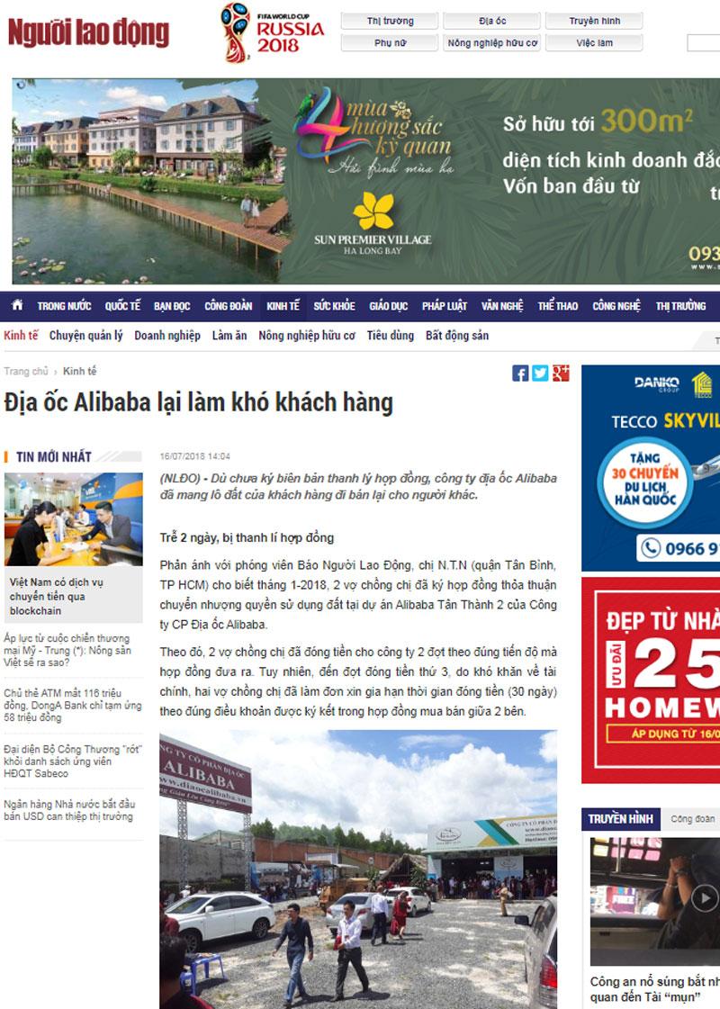 Chân tướng câu chuyện Địa ốc Alibaba lại làm khó khách hàng