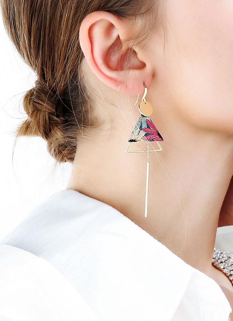 不對稱風藝術幾何耳環