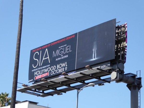 Sia Hollywood Bowl Sold out concert 2016 billboard