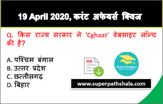 Daily Current Affairs Quiz in Hindi 19 April 2020