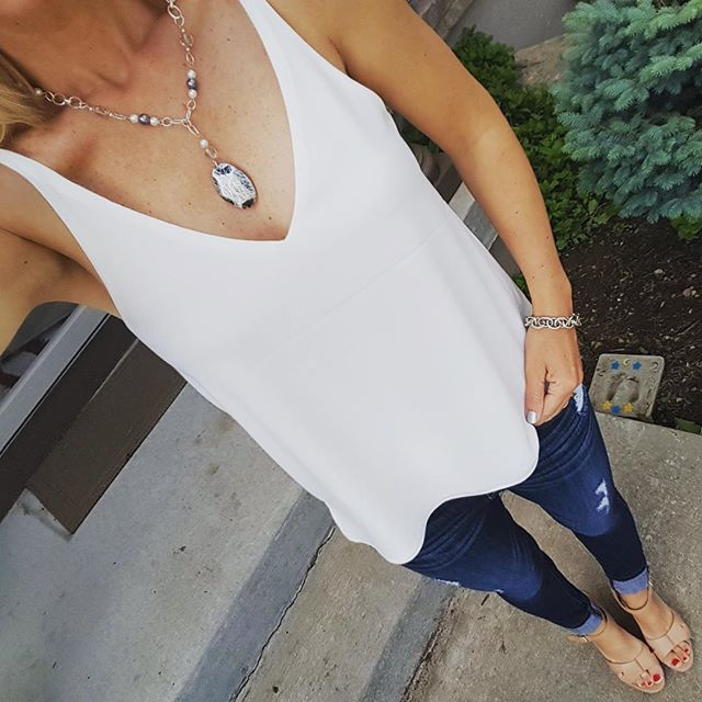 Topshop Double Strap V-Back - check out the back, it's so cute! // Express Distresses Legging Jeans - buy 1 get 1 for $30 // Ivanka Trump Wedges (similar) // Bracelet (similar on sale for $12, reg $30) // Necklace made by my talented friend Sara