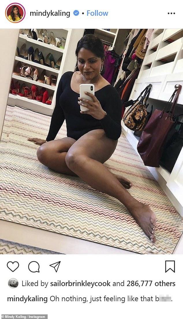Mindy Kaling poses in her closet in black bodysuit (Photos)