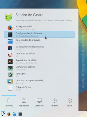 """Procure pelas """"Configurações do Sistema"""" no lançador de aplicativos do KDE."""