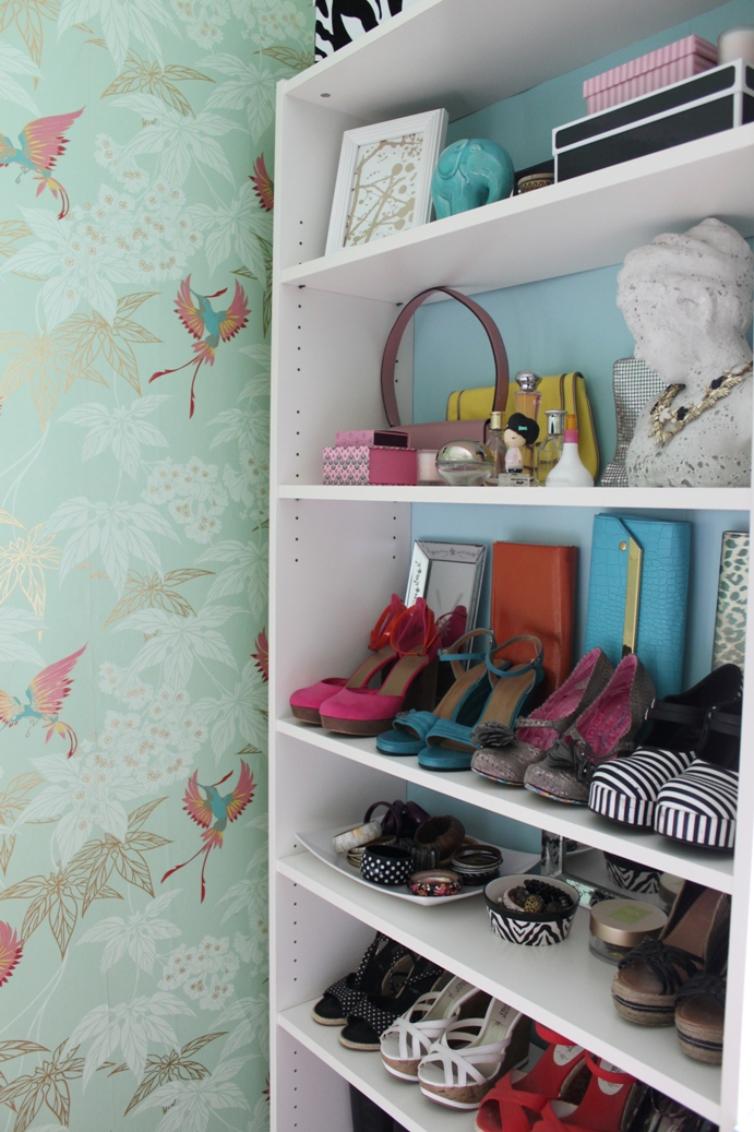 Every girl needs a space to store her shoes! Check out my big dressing room reveal!