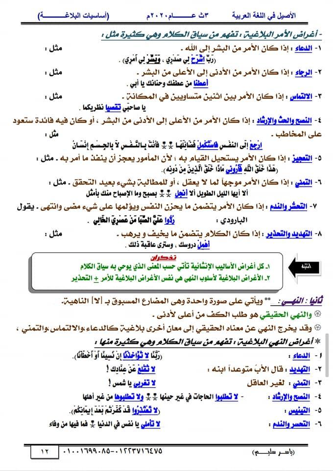 أساسيات البلاغة للثانوية العامة في١٥ورقة أ/ ياسر سليم 12