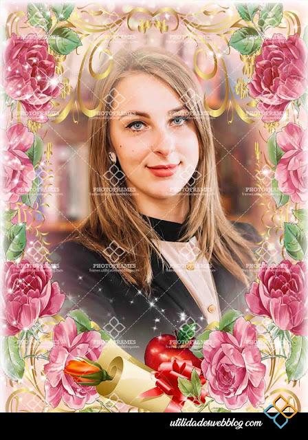 Marco para fotos estilo floral para el día del maestro