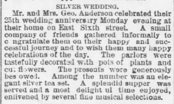 Kristin Holt | Victorian-American Wedding Anniversary Parites: a 25th Silver Wedding Anniversary celebrated at home by Mr. and Mrs. Geo. Anderson. Published in The Topeka Daily Capital of Topeka, Kansas, on November 11, 1888.