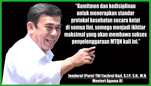Infografis MTQ ke-XXVIII: Komitmen Menteri Agama RI Terapkan Protokol Kesehatan