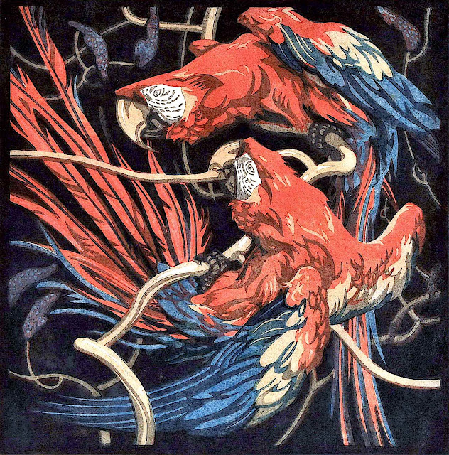 Norbertine Von Bresslern-Roth, wild red parrots in the trees