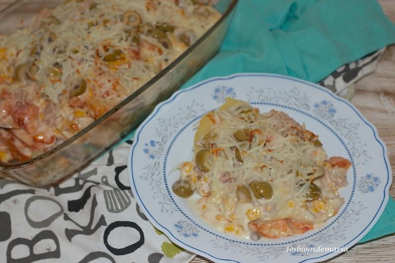 Patatas asadas y gratinadas con aceitunas de anchoas Fragata