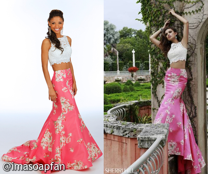 Valerie Spencer, Brytni Sarpy, Pink Floral Mermaid Skirt and Cropped Lace Top, Sherri Hill, Nurses Ball, GH, General Hospital, Season 53, Episode 22, 05/01/15